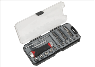 Award Winning Fine Tooth Ratchet Screwdriver & Accessory Set 38pc Sealey Product Image